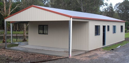 Cream liveable gable with double owning red roof