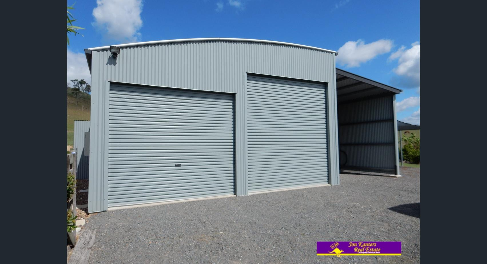 Curved Roof Grey 2x door with awning