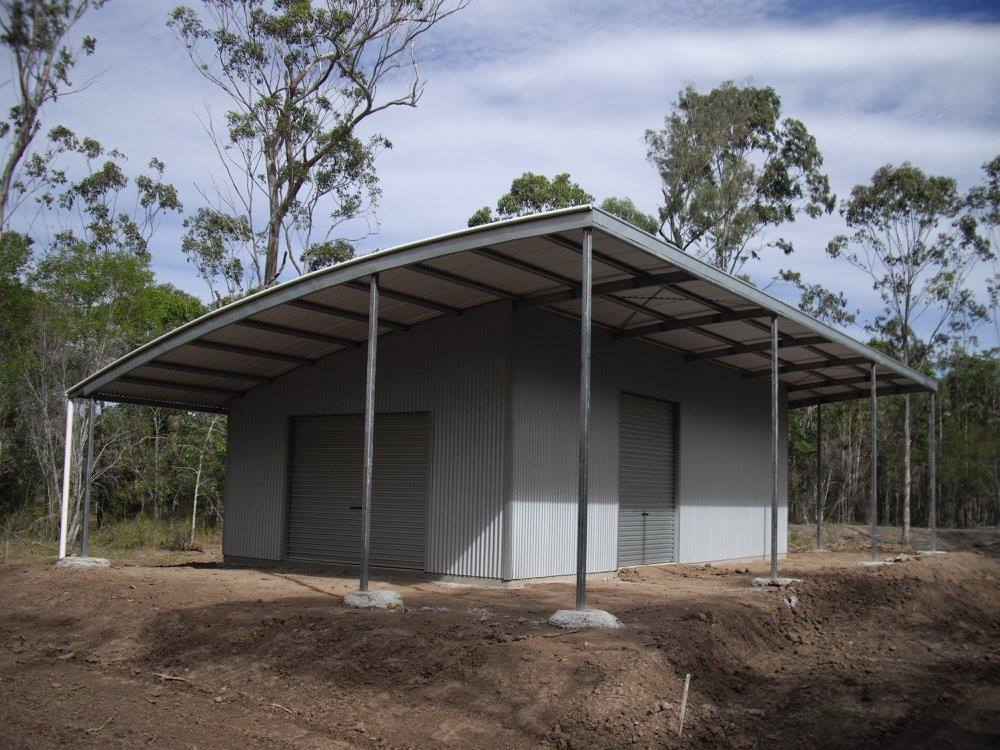 Curved Roof Grey shed with awning