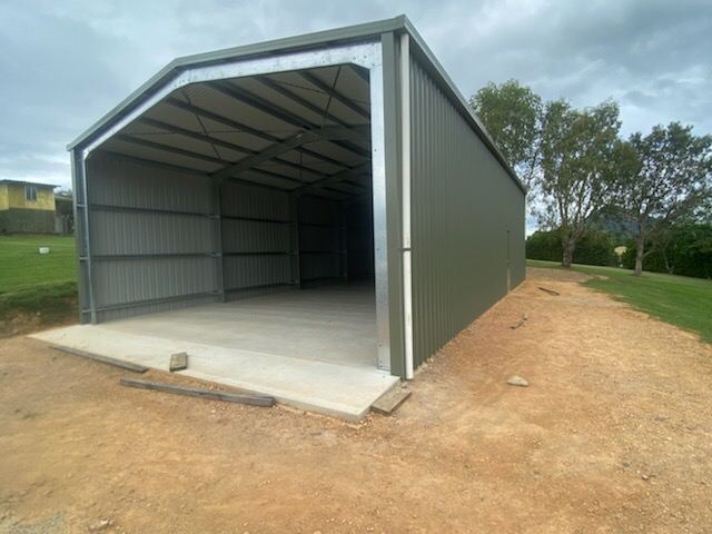 """Industrial gable shed = Colorbond """"Pale Eucalypt"""""""