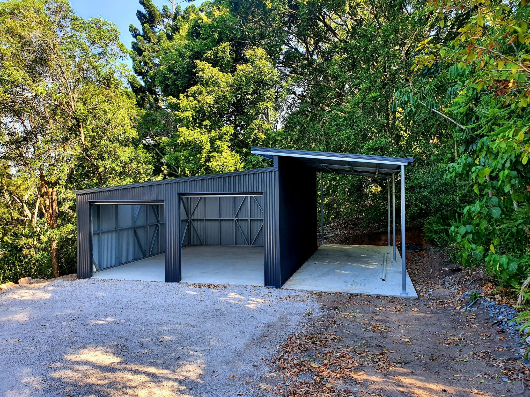 double door skillion shed with carport