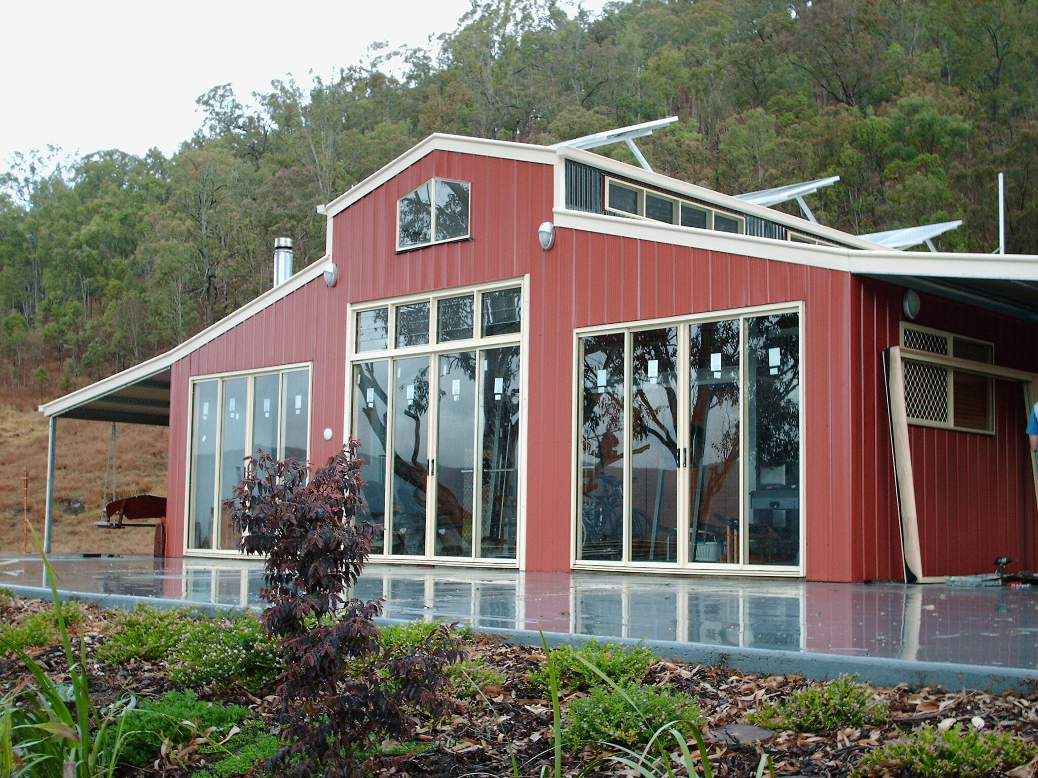 American barn red fitted glass doors