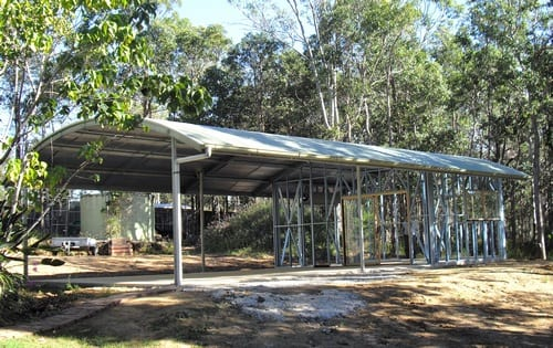 Curved roof frame