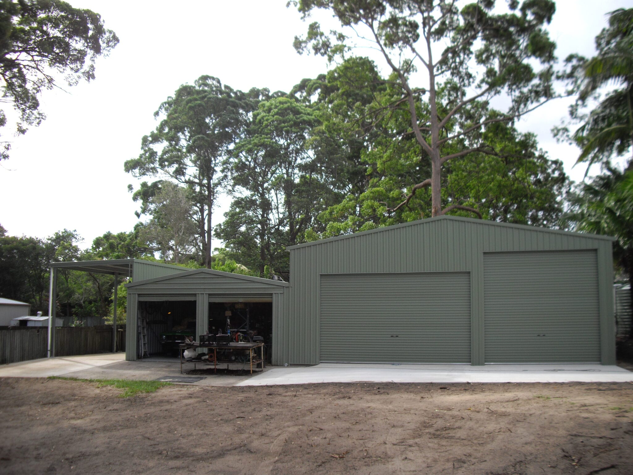 GAble 3 section green shed garage and owning