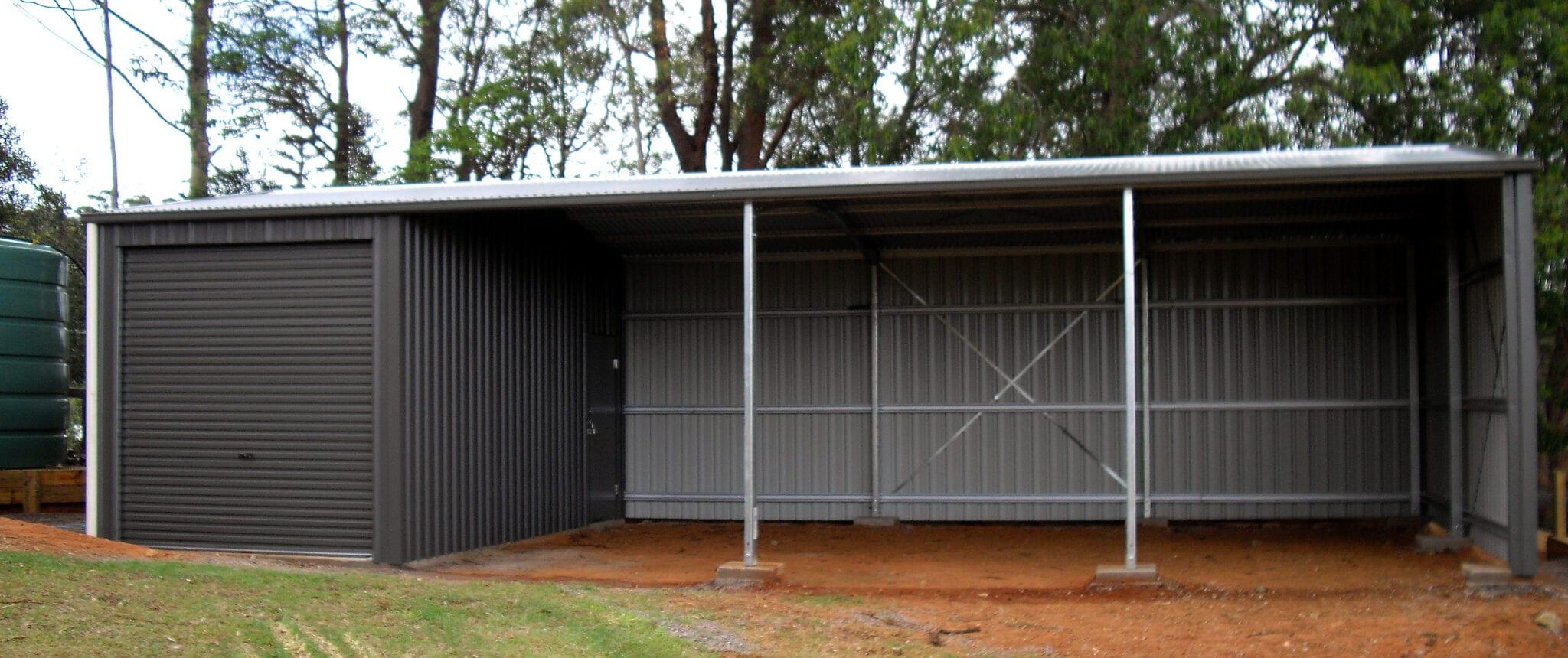 Gable grey farm garage open rd