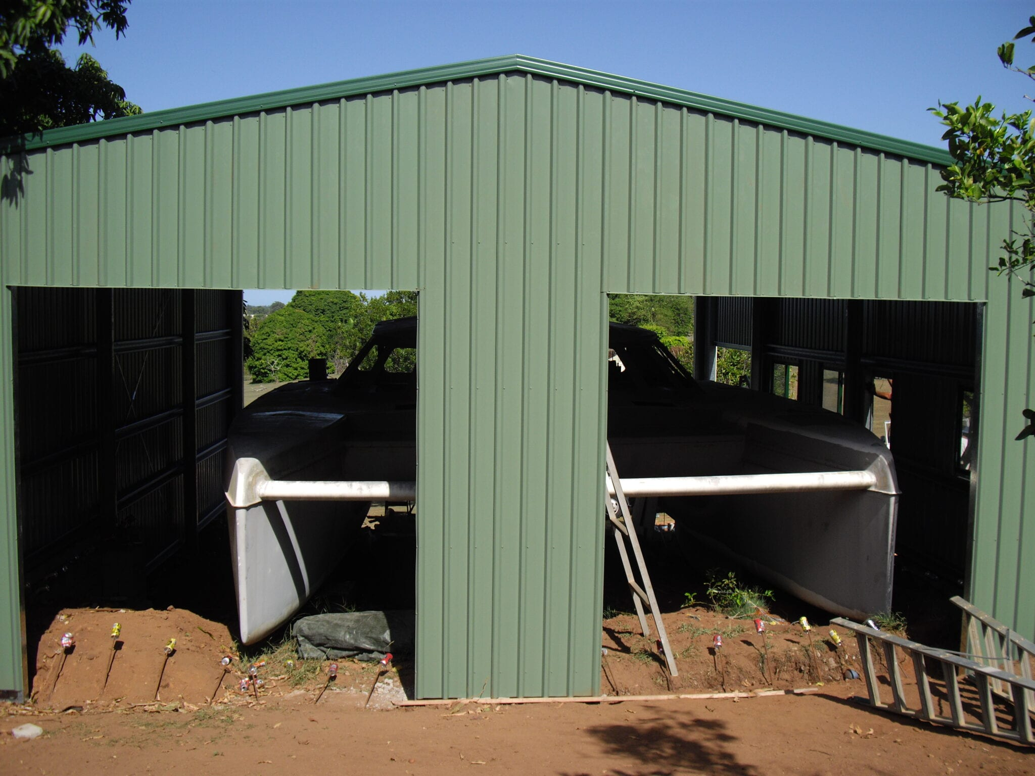 Gable industrial green work shed