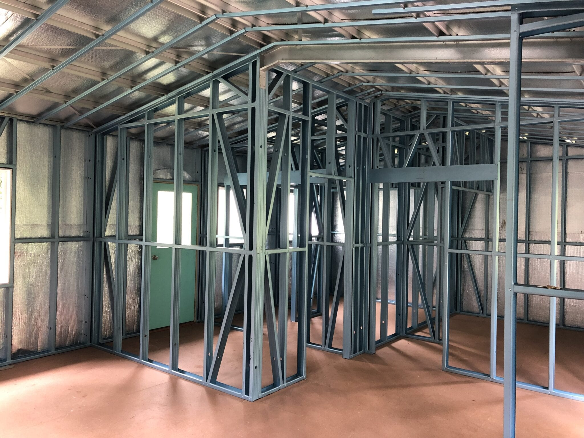 Gable stilts green livable steel frame inside