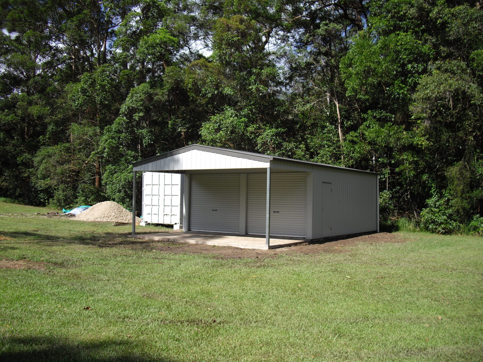 Gable white shed 2xrd with owning