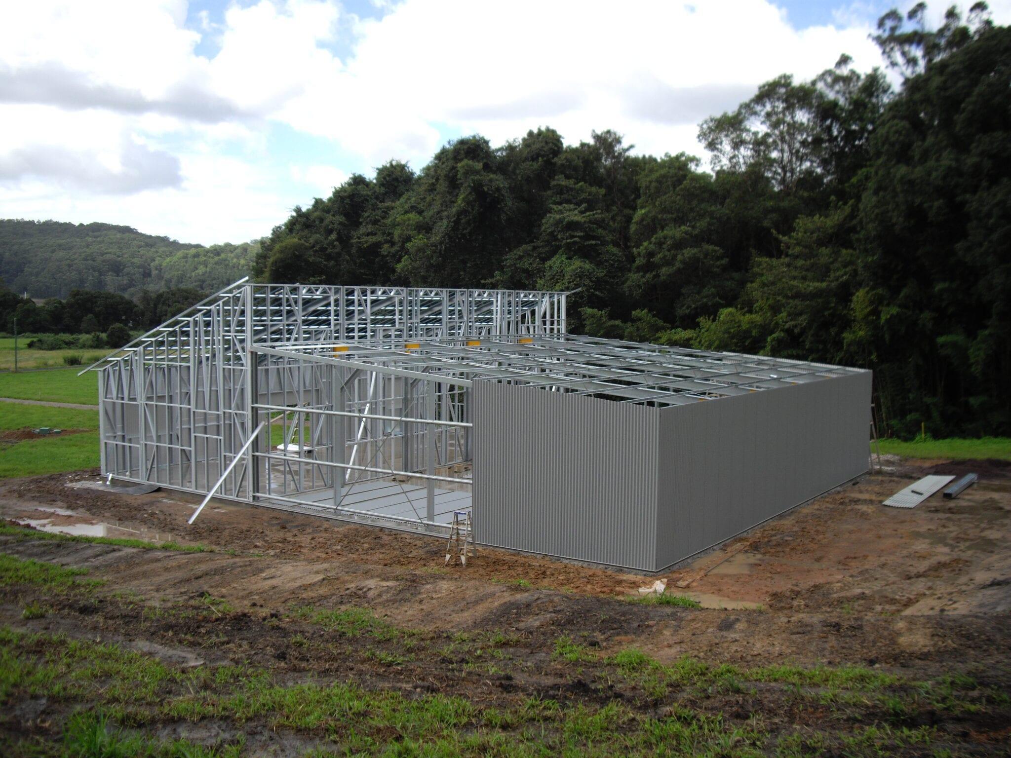 Skillion split steel frame wall sheets (4)