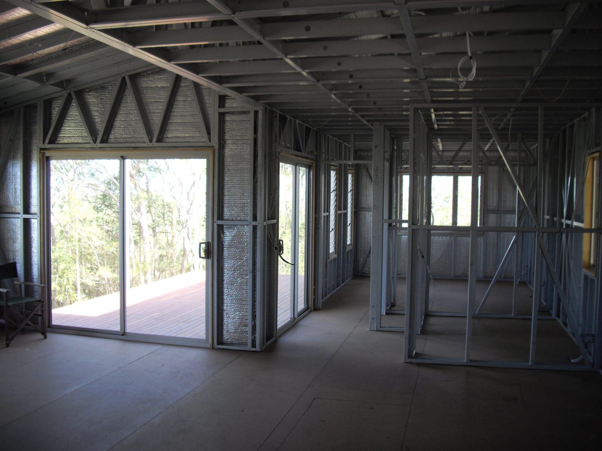 Skillion steel frame livable inside wall sheet